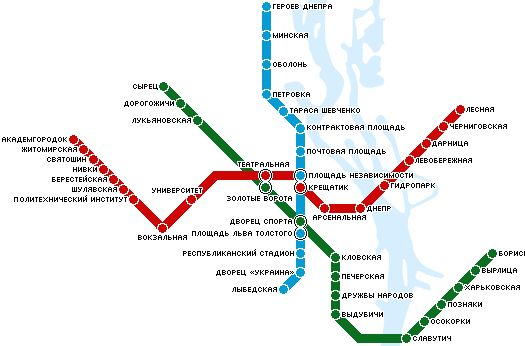 Карта метро Киева, схема линий